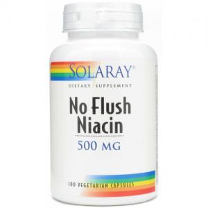 Niacin 500 mg (No Ruborizante) · Solaray · 100 cápsulas