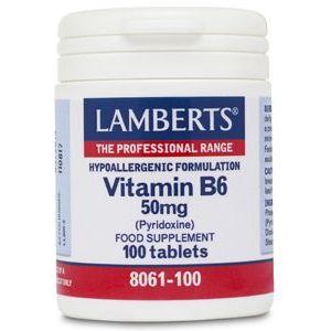 Vitamina B6 50 mg · Lamberts · 100 comprimidos
