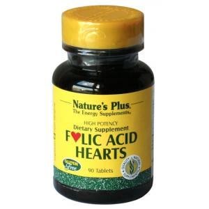 Folic Acid Hearts · Nature's Plus · 90 comprimidos